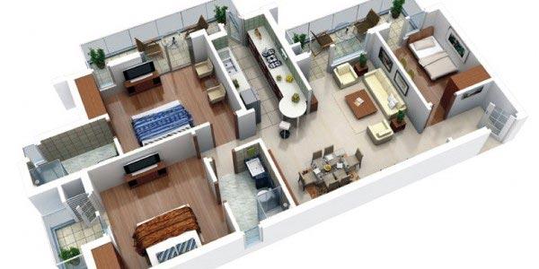 denah 3d rumah 2 bedroom