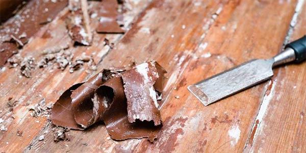 menghilangkan cat kayu