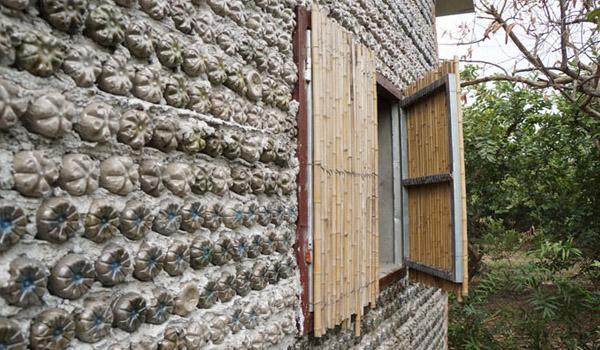 material botol plastik untuk bangunan dinding