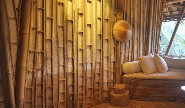 penggunaan material bambu untuk eksterior dinding